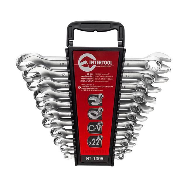 Набор ключей комбинированных 22 ед. дюймовых 11 ед метрических 11 ед INTERTOOL HT-1305