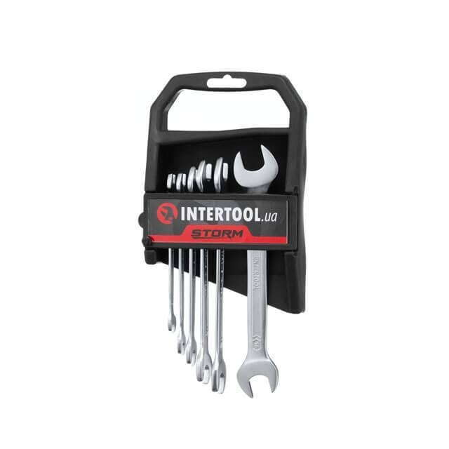 Набор рожковых ключей 6 шт. 6-17 мм Cr-V, покрытие сатин-хром; PROF DIN3113 INTERTOOL XT-1101