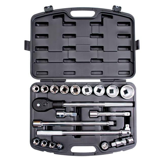Профессиональный набор инструмента 3/4', 20 ед (гол. 19-50 мм) пластиковый кейс INTERTOOL ET-6023