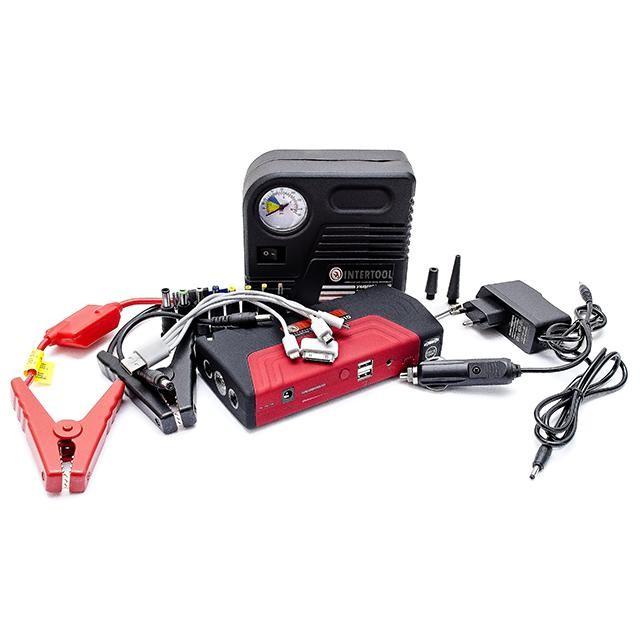 Набор пускозарядное устройство универсальное 16800 mАч и мини компрессор INTERTOOL AT-3010