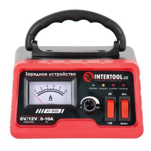 Зарядное устройство 6/12В, регулировка силы тока 0-10А, 230В INTERTOOL