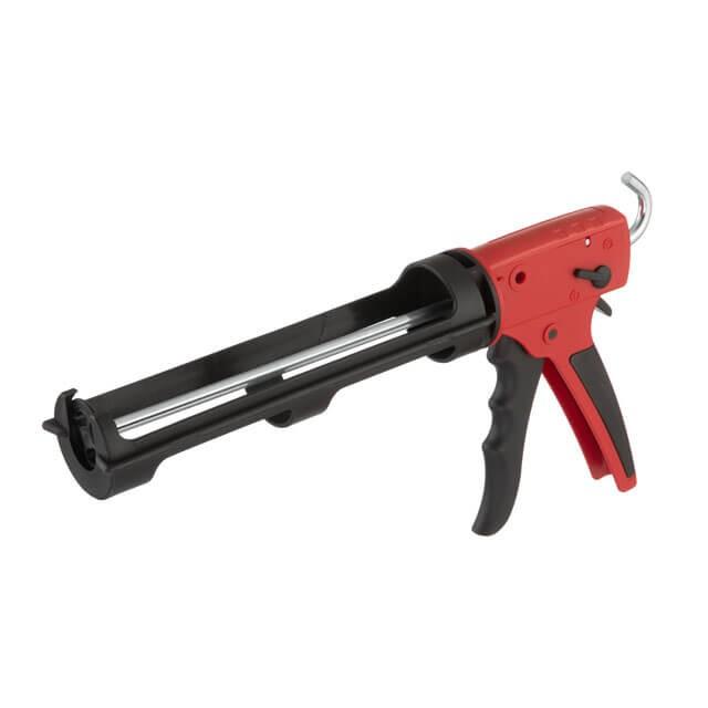 Пистолет для выдавливания силикона 1300 Н, усиленный пластик. INTERTOOL HT-0028