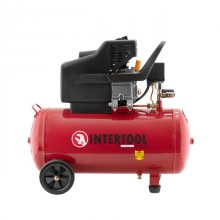 Компрессор 50 л, 2 HP, 1,5 кВт, 220 В, 8 атм, 206 л/мин. INTERTOOL PT-0003