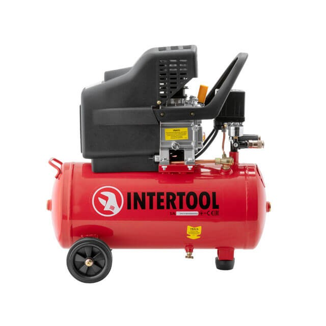Компрессор 24 л, 2 HP, 1,5 кВт, 220 В, 8 атм, 206 л/мин. INTERTOOL PT-0009