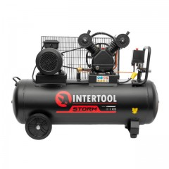 Компрессор 100 л, 4 HP, 3 кВт, 380 В, 8 атм, 500 л/мин, 2 цилиндра INTERTOOL PT-0013
