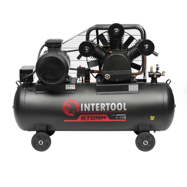 Компрессор 300 л, 15 HP, 11 кВт, 380 В, 8 атм, 1600 л/мин. 3 цилиндра INTERTOOL PT-0050