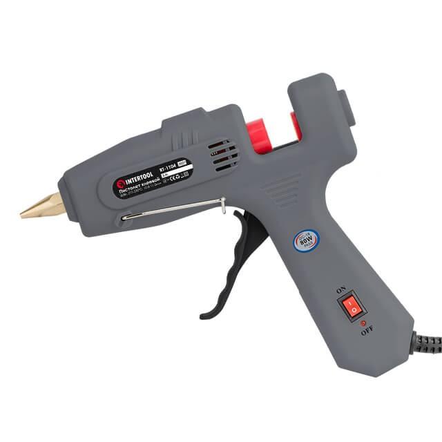 Пистолет клеевой 80(245)Вт, 230В, 215-230°C под стержни 10.8-11.5мм, 13-30 г/мин., выключатель. INTERTOOL RT-1104