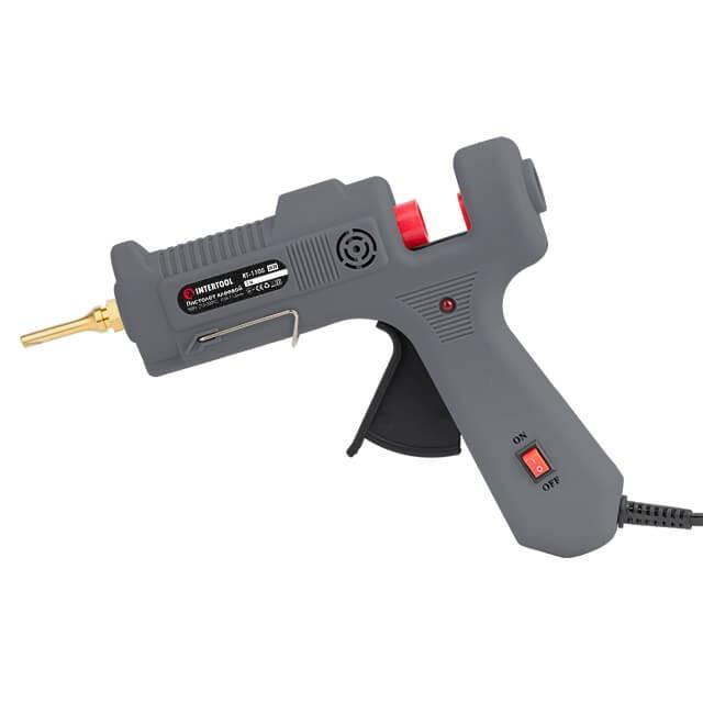 Пистолет клеевой 90(290)Вт, 230В,215-230°C под стержни 10.8-11.5мм, 13-30 г/мин., удлин. сопло, выключатель. INTERTOOL RT-1105
