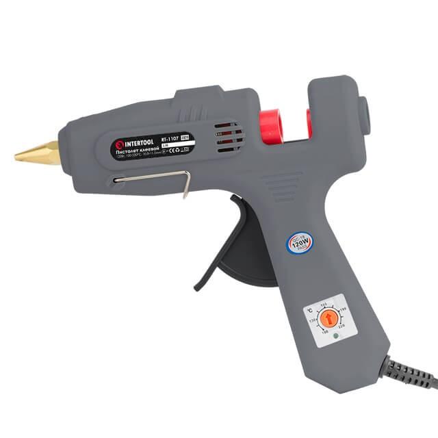 Пистолет клеевой 120(360)Вт, 230В, 100-220°C под стержни 10.8-11.5мм, 13-30 г/мин., рег. темп., выключатель. INTERTOOL RT-1107