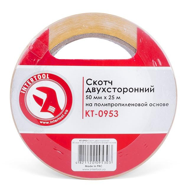 Скотч двухсторонний 50 мм*25 м на полипропиленовой основе INTERTOOL KT