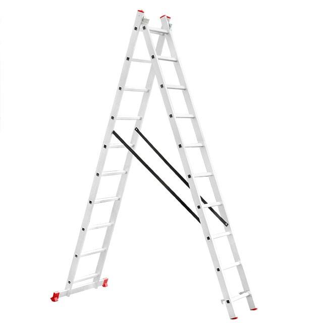 Лестница алюминиевая 2-х секционная универсальная раскладная 2x10 ступ. 4,81 м INTERTOOL LT-0210