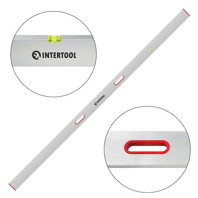 Правило-уровень 250 см, 2 капсулы, вертикальный и горизонтальный с ручками INTERTOOL MT-2125
