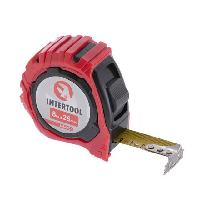 Рулетка с фиксатором 8м*25мм 'Магнит' INTERTOOL MT-0508
