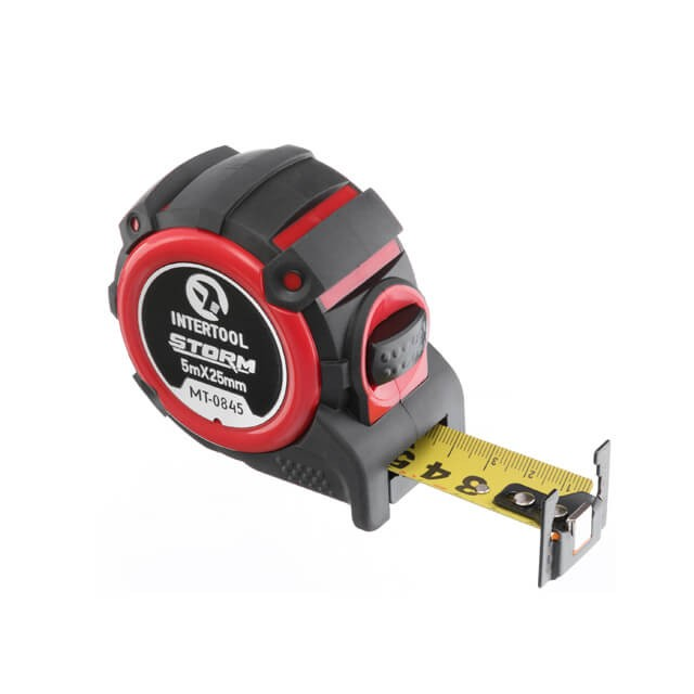Рулетка с металлическим полотном, 5м*25мм, двухстороняя шкала, нейлоновое покрытие, двухсторонный зацеп с магнитом, автостоп полотна STORM INTERTOOL MT-0845