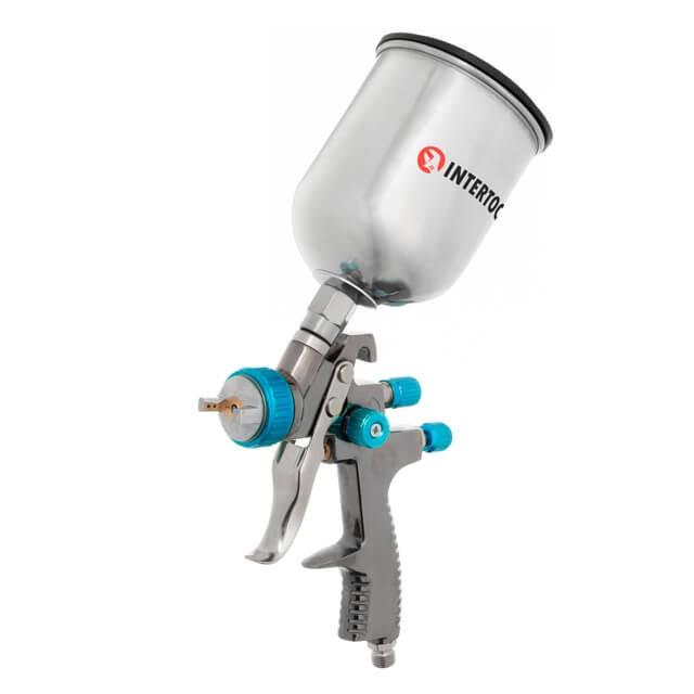 LVLP BLUE NEW Профессиональный краскораспылитель 1,4 мм, верхний металлический бачок 600 мл., mах 1,5 атм INTERTOOL PT-0133