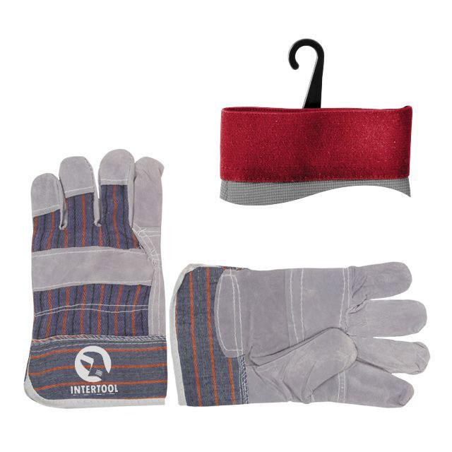 Перчатка комбинированная из замша и ткани 10.5' (ящик 120пар) INTERTOOL SP-0014W