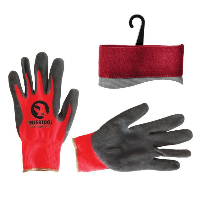 Перчатка красная вязанная синтетическая, покрытая серым пористым нитрилом на ладони 10