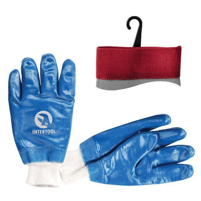 Перчатка маслостойкая х/б трикотаж покрытая нитрилом c вязаным манжетом 10.5' (синяя) (120пар/ящ) INTERTOOL SP-0137W