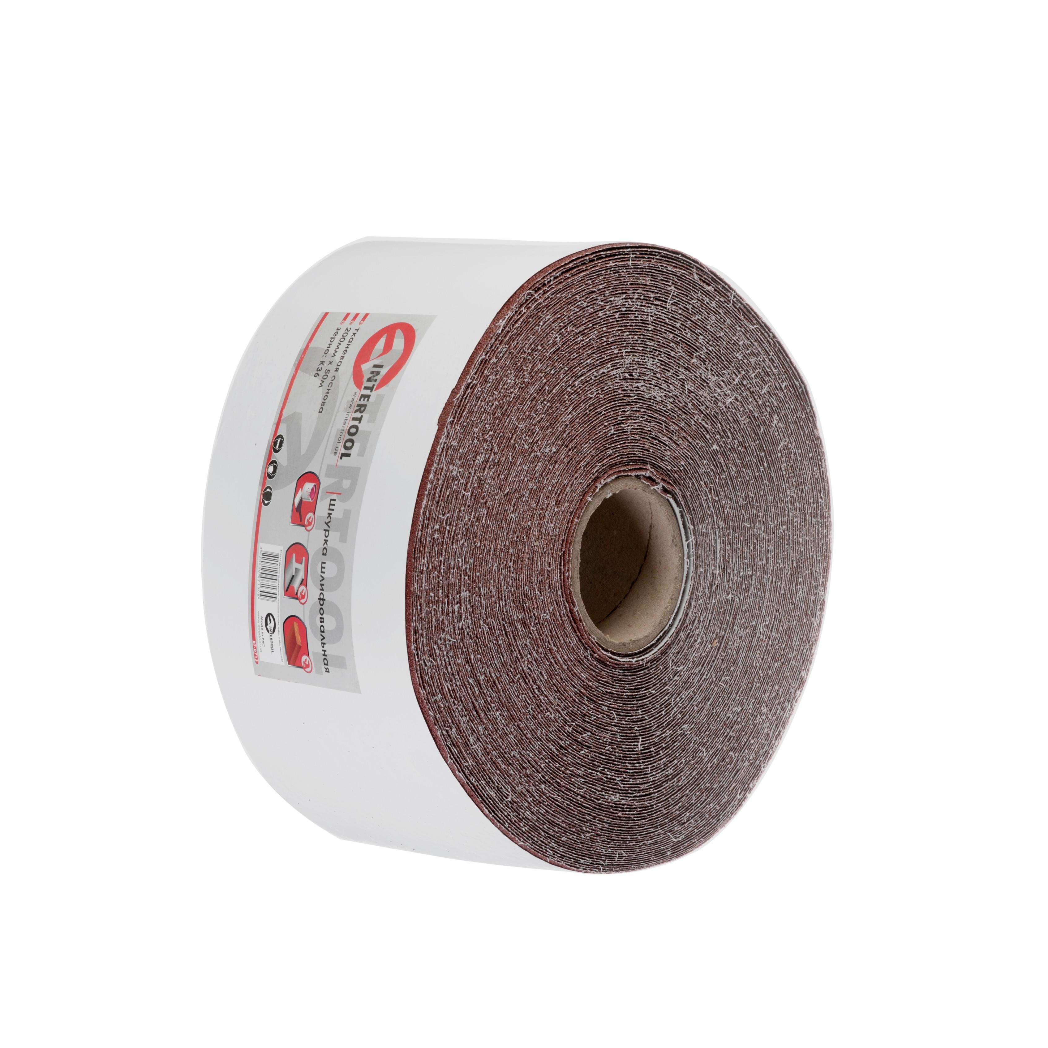 Шлифовальная шкурка на тканевой основе К36, 20 cм x 50 м INTERTOOL BT-