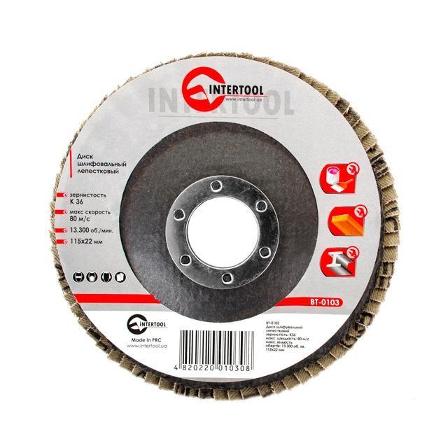 Диск шлифовальный лепестковый 115x22 мм, зерно K36 INTERTOOL BT-0103