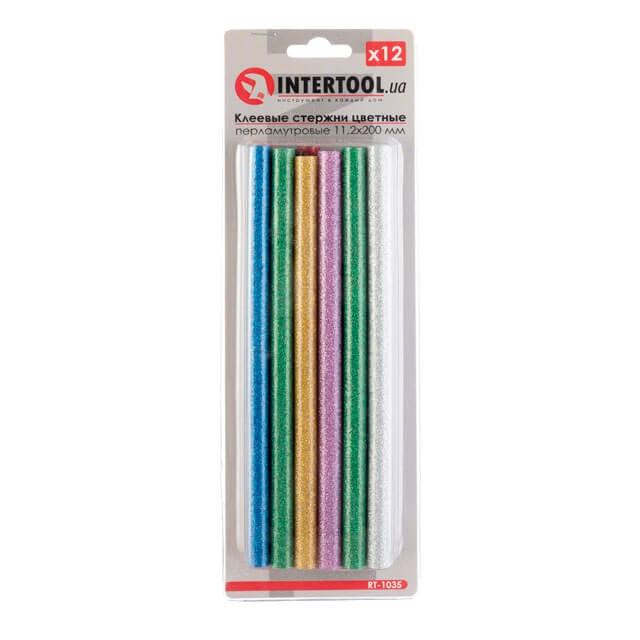 Комплект цветных перламутровых клеевых стержней 11.2мм*200мм, 12шт INTERTOOL RT-1035