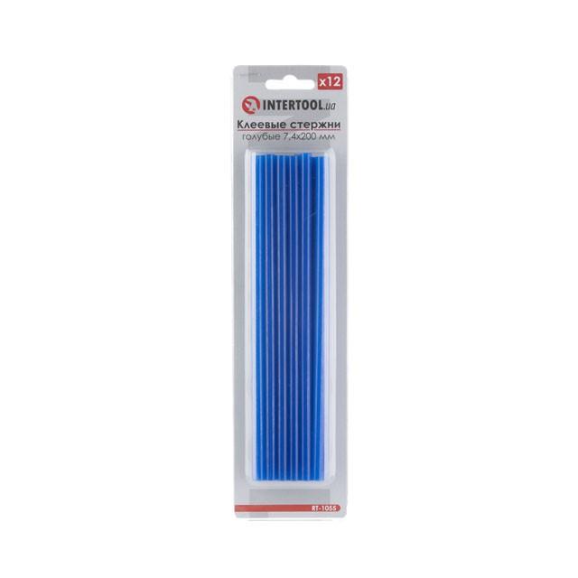 Комплект голубых клеевых стержней 7.4мм*200мм, 12шт. INTERTOOL RT-1055