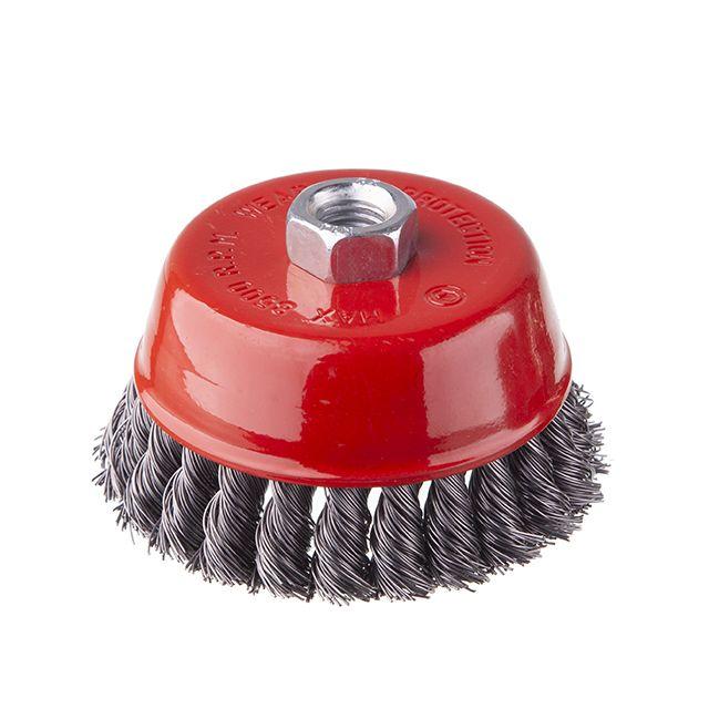 Щетка чашечная 100 мм, для УШМ, М14 (пучки витой проволоки) INTERTOOL BT-2100