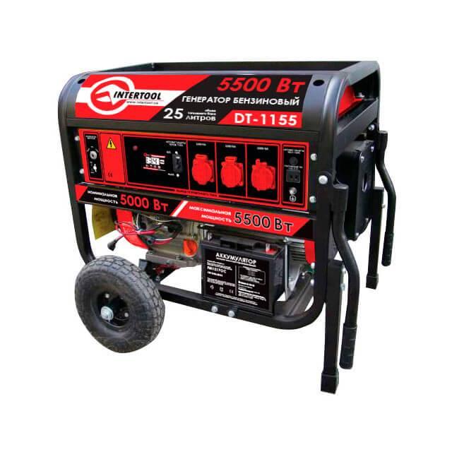 Генератор бензиновый макс. мощн. 6 кВт., ном. 5,5 кВт., 13 л.с., 4-х тактный, электрический и ручной пуск, комплект колес и ручек, 96 кг. INTERTOOL DT-1155