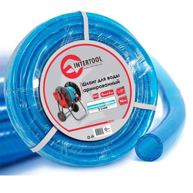 Шланг для воды 3-х слойный 1/2', 100 м, армированный PVC INTERTOOL GE-4057