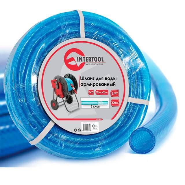 Шланг для воды 3-х слойный 3/4', 100 м, армированный PVC INTERTOOL GE-4077