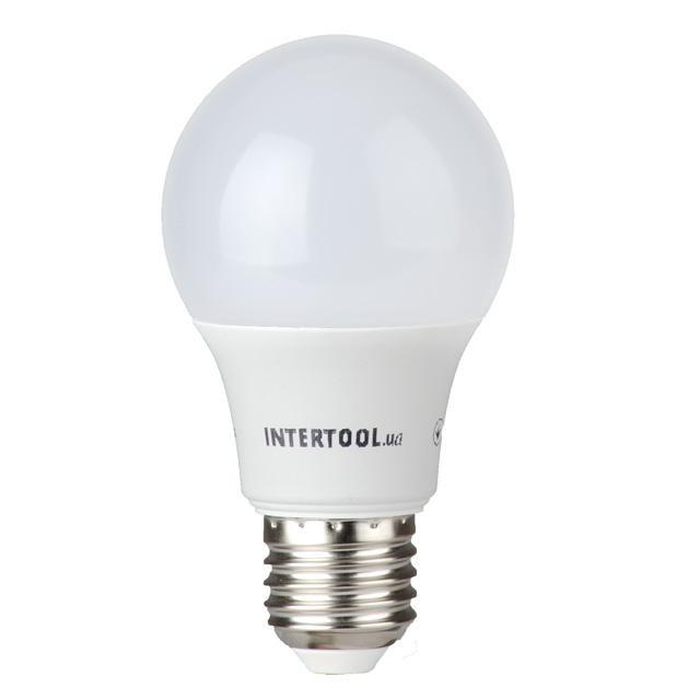 Светодиодная лампа LED A60, E27, 10Вт, 150-300В, 4000K, 30000ч, гарантия 3года. INTERTOOL LL-0014