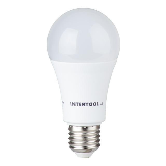 Светодиодная лампа LED A60, E27, 15Вт, 150-300В, 4000K, 30000ч, гарантия 3года. INTERTOOL LL-0017