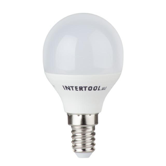 Светодиодная лампа LED P45, E14, 5Вт, 150-300В, 4000K, 30000ч, гарантия 3года. INTERTOOL LL-0102