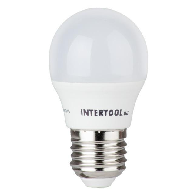 Светодиодная лампа LED G45, E27, 5Вт, 150-300В, 4000K, 30000ч, гарантия 3года. INTERTOOL LL-0112