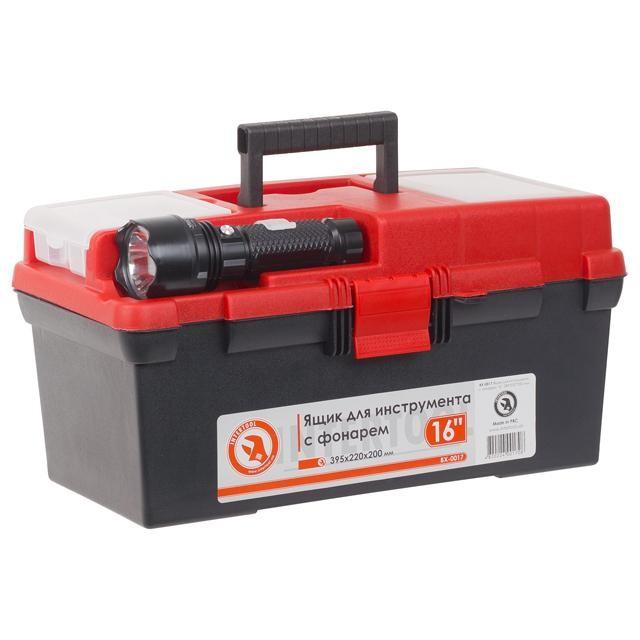 Ящик для инструмента c фонарем 16' 395*220*200 мм INTERTOOL BX-0017