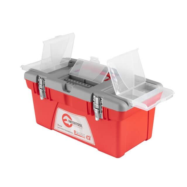Ящик для инструментов с металлическими замками, 18' 480x250x230 мм INTERTOOL BX-0518