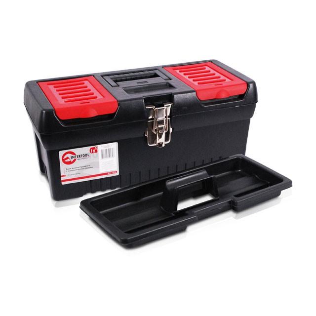 Ящик для инструментов с металлическими замками, 16' 396x216x164 мм INTERTOOL BX-1016