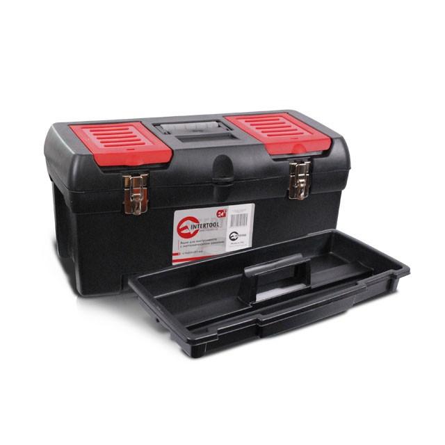 Ящик для инструментов с металлическими замками, 24' 610x255x251 мм INTERTOOL BX-1024