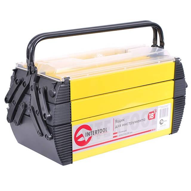 Ящик для инструментов металлический, 18', 5 секций, 454x210x230 мм INTERTOOL BX-5018