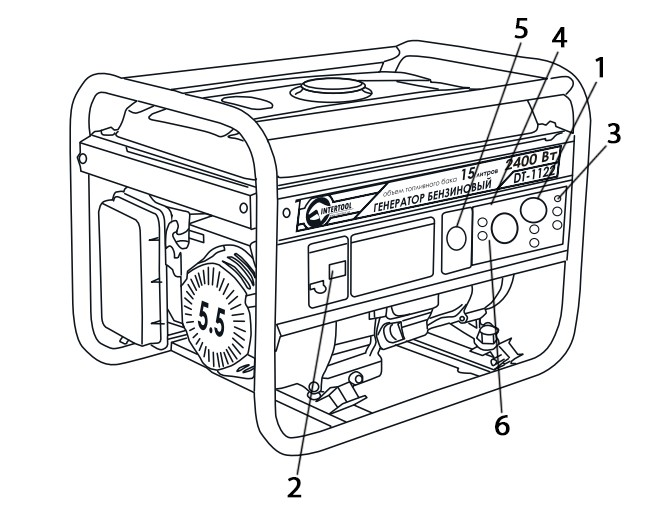 Схематическое изображение конфигурации панели управления бензинового генератора INTERTOOL DT-1122