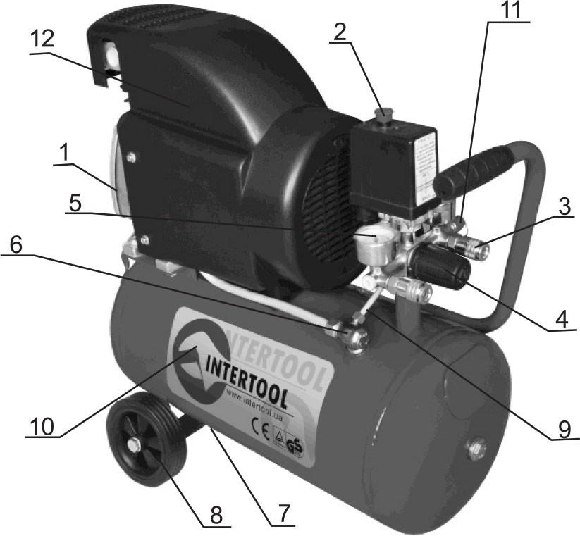 Описание компрессора Минск-24 (1.5 кВт, 220 В, 8 атм, 205 л/мин)