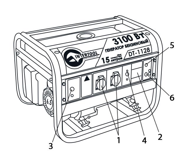 Схематическое изображение конфигурации панели управления бензинового генератора INTERTOOL DT-1128