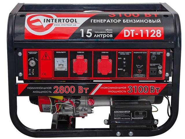 Бензиновый генератор INTERTOOL DT-1128 (3,1 кВт., ном. 2,8 кВт., 6,5 л.с., 4-х тактный)