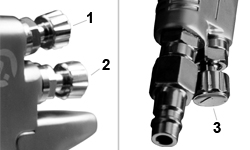 Три регулировки покрасочного пистолета LVMP PT-0115